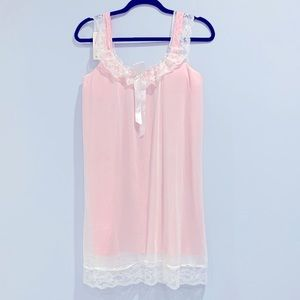 NWT Vtg YW Duola Baby Pink Lace Nightgown Slip M